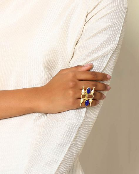 Gold-Plated Statement Ring By Indie Picks ( Blue )