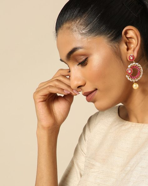 Floral Stone Earrings With Pearl Drop By Spargz ( Red )