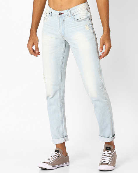 Lightly Washed Distressed Slim Jeans By DNM X ( Ltblue )