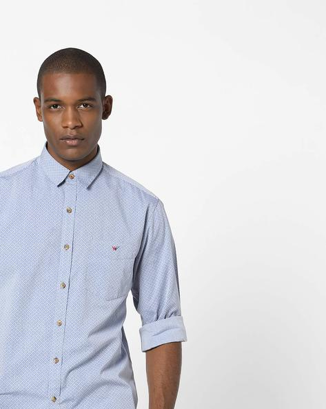 Printed Slim Fit Shirt By Wills Lifestyle ( Blue )