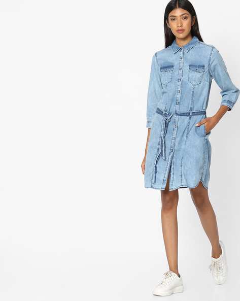 Denim Shirt Dress With Fabric Belt By Tokyo Talkies ( Blue )