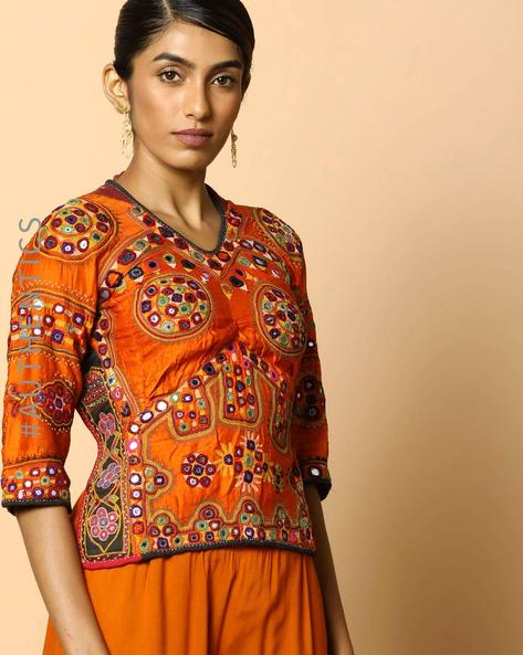 Kutch Embroidered Backless Blouse By Indie Picks ( Multi ) - 460103656001