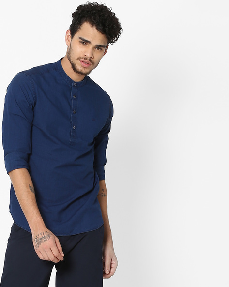 Slim Fit Cotton Shirt With Band Collar By FLYING MACHINE ( Indigo )