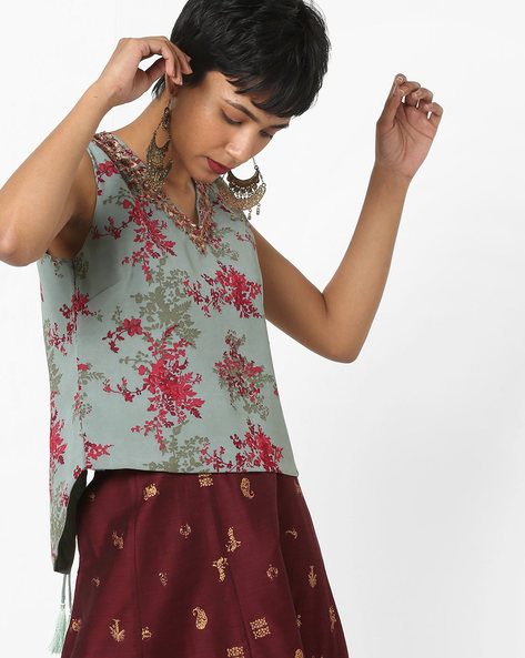 Printed High-Low Tunic With Embroidery By AJIO ( Green )