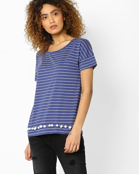 Striped Crew-Neck T-shirt By DNM X ( Blue )