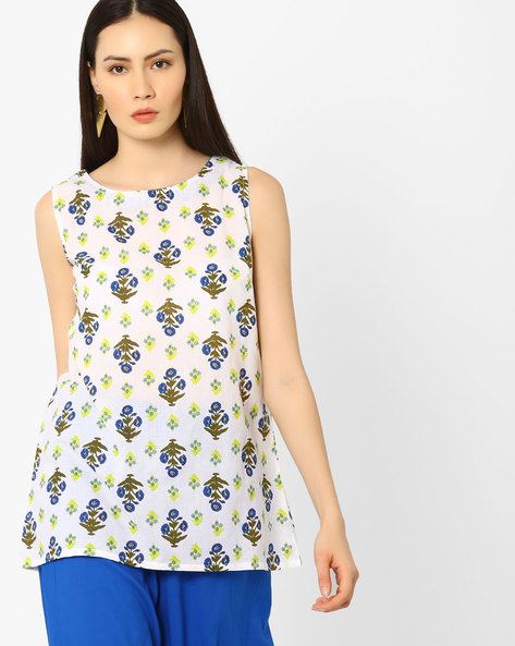 Floral Print Sleeveless Top By AJIO ( Blue )