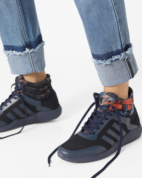 Lace-Up Sneakers With Padded Collar By AJIO ( Navy )