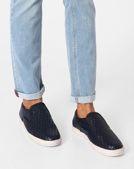 Textured Faux Leather Sneakers By Modello Domani ( Navy )