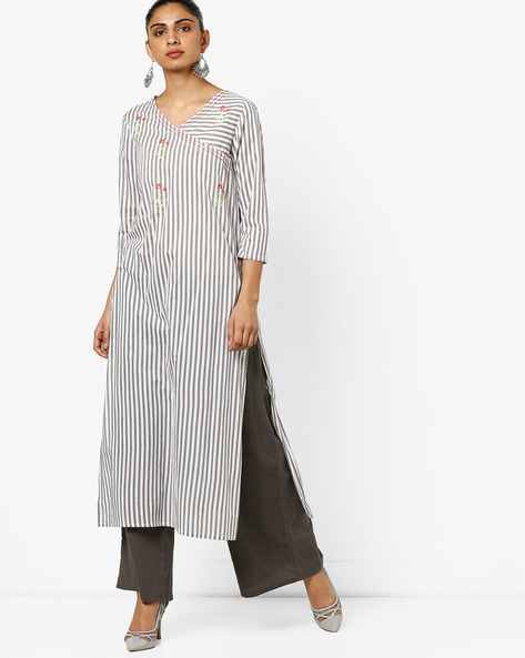 Striped Straight Kurta With Embroidery By AJIO ( Grey )