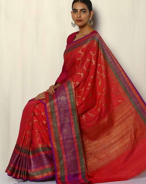 Antique Zari Banarasi Dupion South Silk Saree By Pretty Woman ( Peach ) - 460092225001