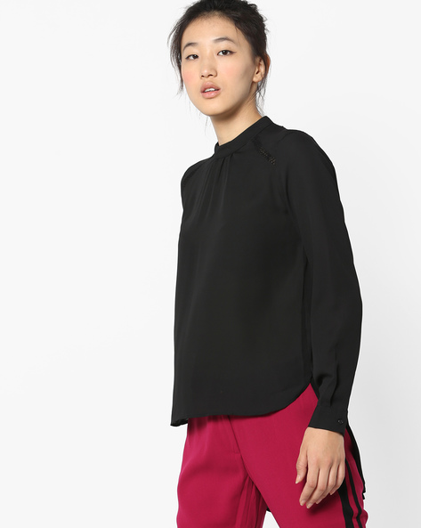High-Neck Top With Lace Insets By Only ( Black )