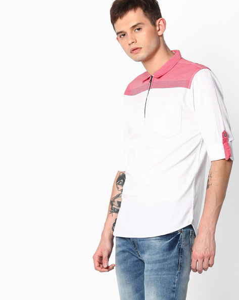 Cotton Slim Fit Shirt By The Indian Garage Co ( Red )