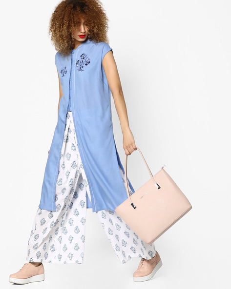 Open-Front Tunic With Embroidery By AJIO ( Blue )