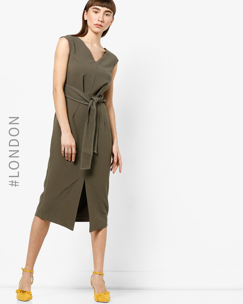 Asymmetric Hem A-line Dress With Waist Tie-Up By Closet London ( Khaki )