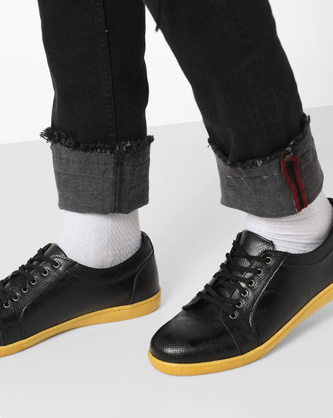 Lace-Up Sneakers With Contrast Outsole By AJIO ( Black )