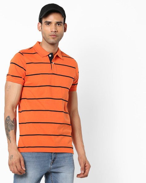 Slim Fit Striped Polo T-shirt By BASICS ( Orange )
