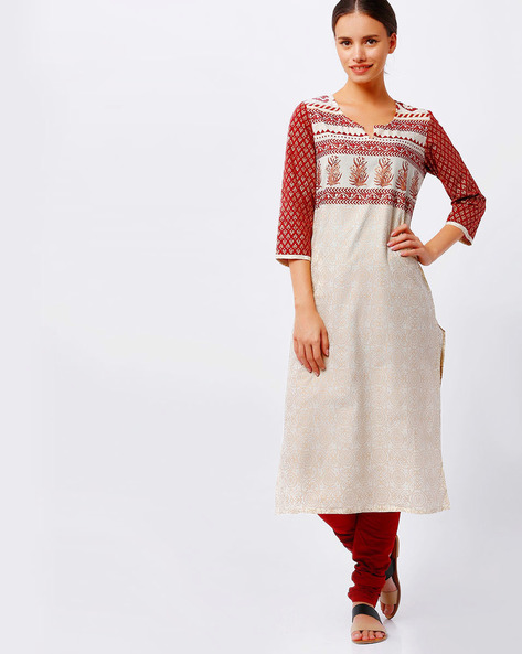 Printed Straight Kurta With Notched Round Neck By AVAASA MIX N' MATCH ( Beige )
