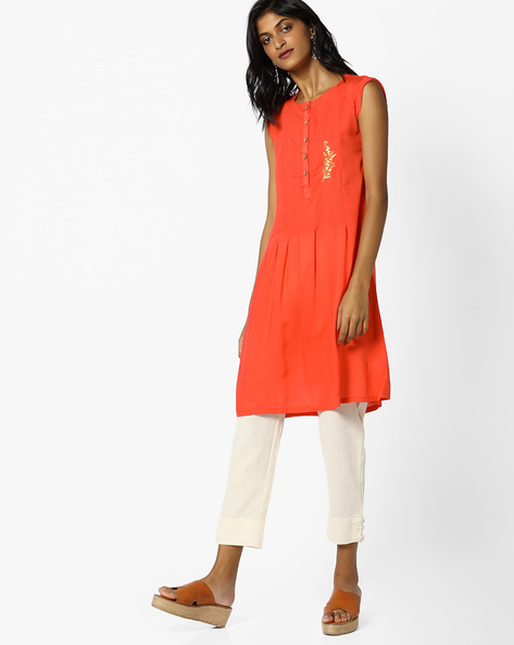 Sleeveless A-line Dress With Embroidery By AJIO ( Coral )