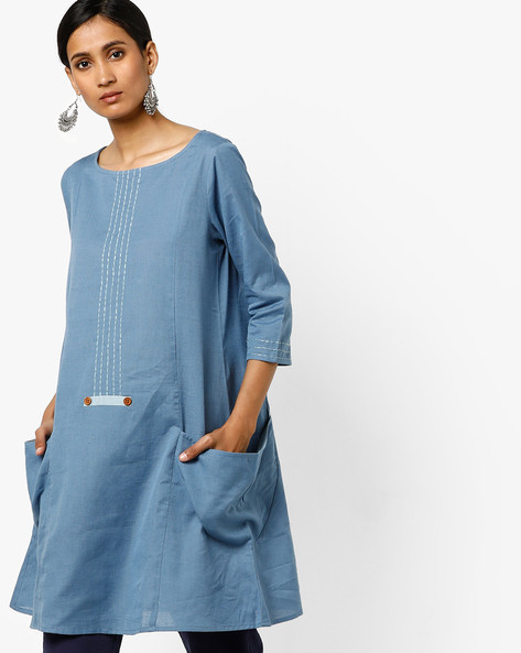 Straight Tunic With Side Pockets By AJIO ( Darkblue )