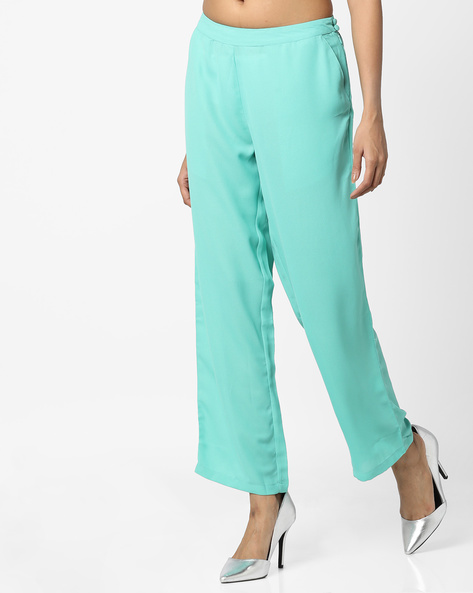 Straight Pants With Insert Pockets By AJIO ( Teal )