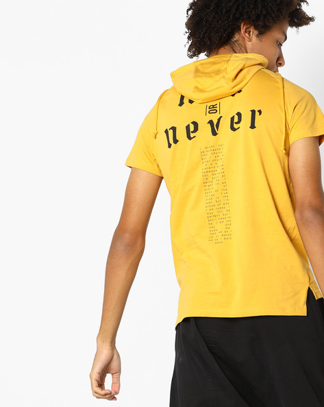Hooded T-shirt With Printed Back By AJIO ( Yellow )