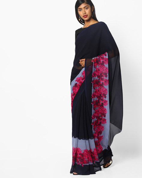 Bollywood Floral Print Saree By Ishaya ( Black )