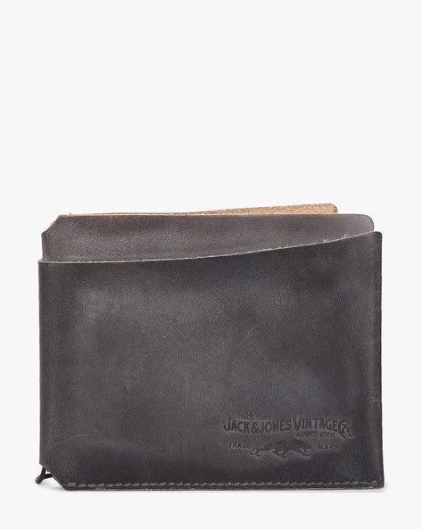 Genuine Leather Bi-Fold Wallet By Jack & Jones ( Black )