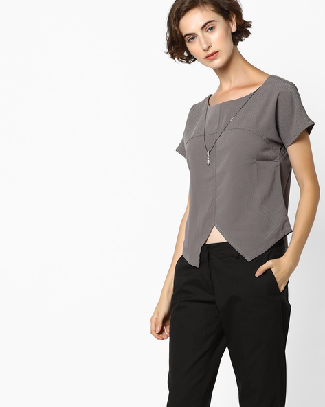 Printed Panelled Top By CODE By Lifestyle ( Grey )