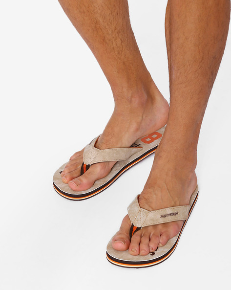 Printed Flip-Flops With Anti-Skid Outsole By Sole Threads ( Beige )