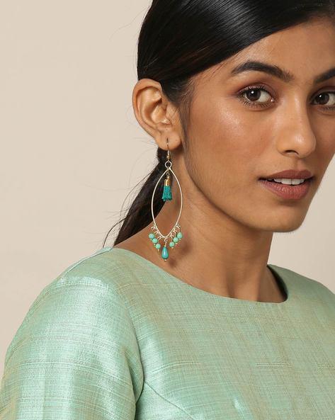 Beaded Dangler Earrings With Tassels By Indie Picks ( Blue )
