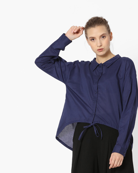 Front-Tie Shirt With High-Low Hem By Rena Love ( Navyblue )