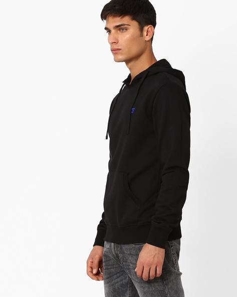 Slim Fit Hooded Sweatshirt By The Indian Garage Co ( Black )