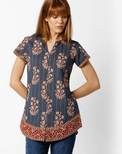 Printed Top With Front Slit By SIYAHI ( Blue )