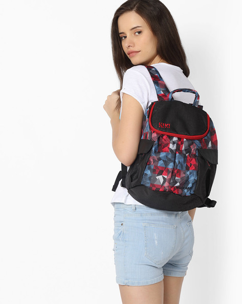 Geometric Print Backpack By Wildcraft ( Red )