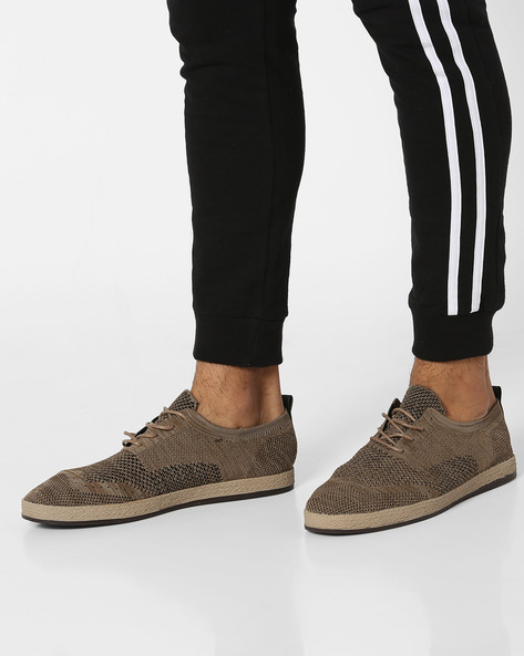Lace-Up Shoes With Patterned-Knit Upper By AERO BLUEZ ( Beige )