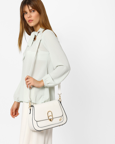 Sling Bag With Metallic Detail By E2O ( White )