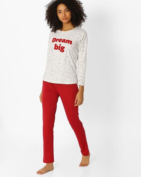 Printed Top And Pyjama Set By Sweet Dreams ( Cream )