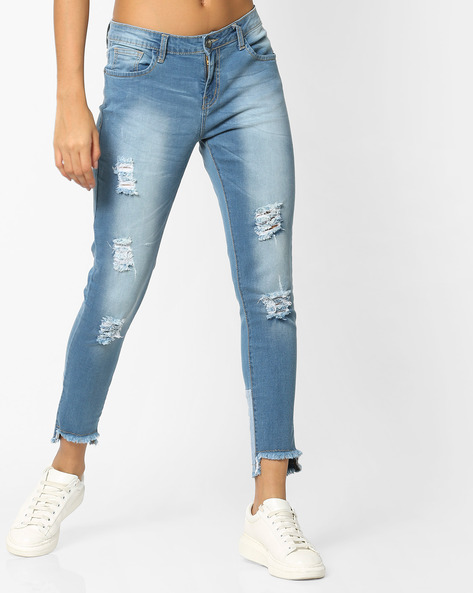 Slim Fit Distressed Jeans With Step Hems By AJIO ( Blue )