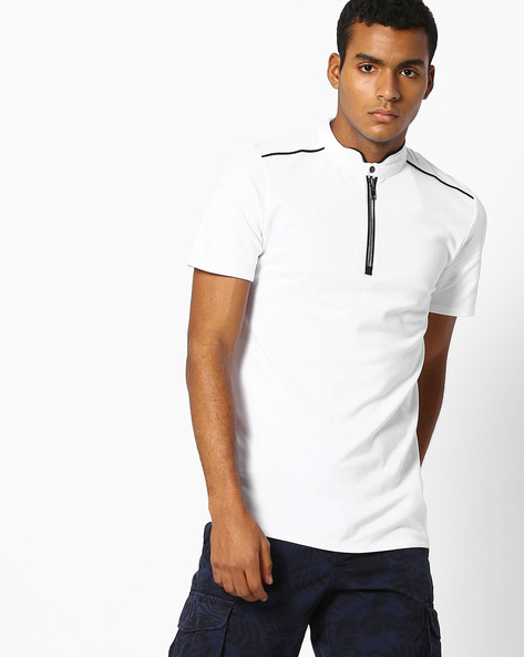Panelled T-shirt With Band Collar By Celio ( White )