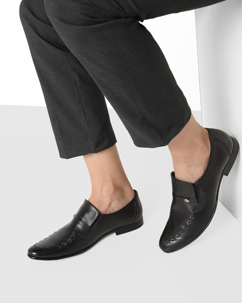 Slip-On Formal Shoes With Stitch Detail By GNX ( Black )