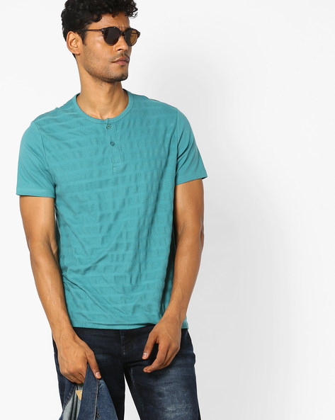 Henley T-shirt With Stitch Detail By AJIO ( Green )