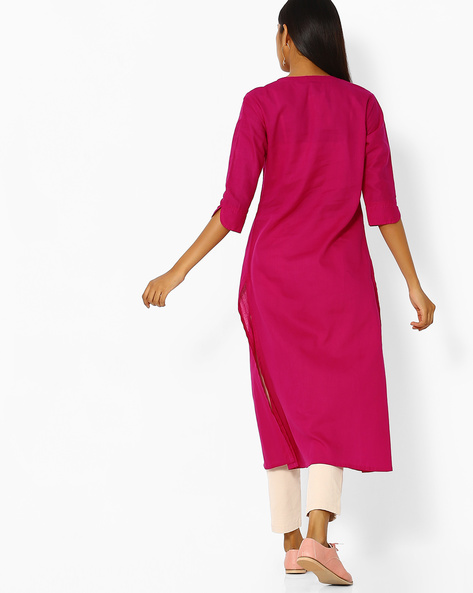 Straight Kurta With Pintucks By Desi Weaves ( Magenta )