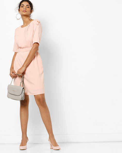 Sheath Dress With Pleated Front By AJIO ( Peach )