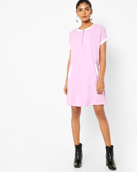 Shift Dress With Front Zipper By AJIO ( Lilac )
