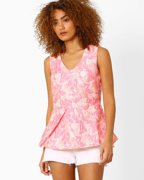 Jacquard Peplum Top By AJIO ( Pink )