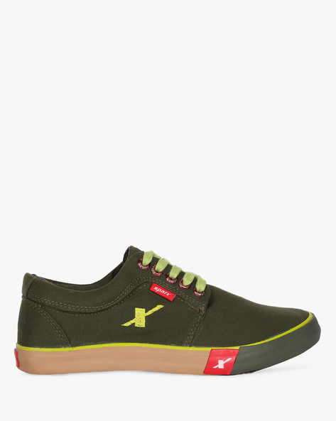Low-Top Canvas Shoes With Lace-Ups By SPARX ( Olive )