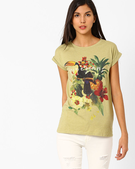 Floral Print Crew-Neck T-shirt By Pepe Jeans ( Khaki )