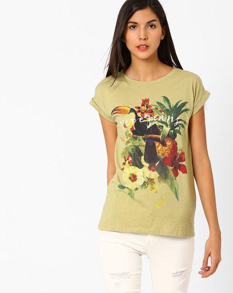Tropical Print Crew-Neck T-shirt By Pepe Jeans ( Khaki )