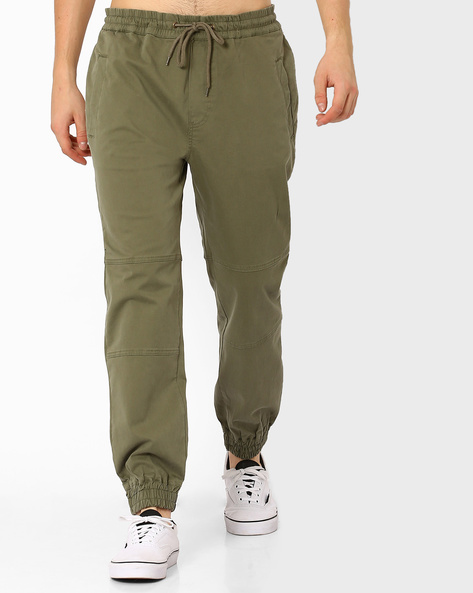 Cuffed Joggers With Drawstring Fastening By ADAMO LONDON ( Olive )