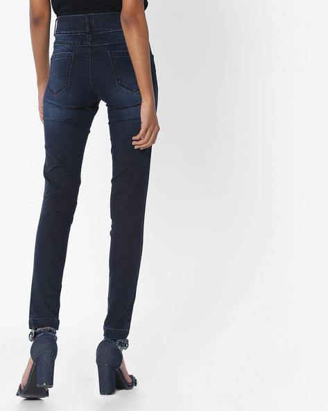 Skinny Fit Ankle-Length Jeggings By KRAUS ( Black )